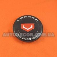 Колпачки заглушки на литые диски Vossen (68/62/10) черные/красный логотип